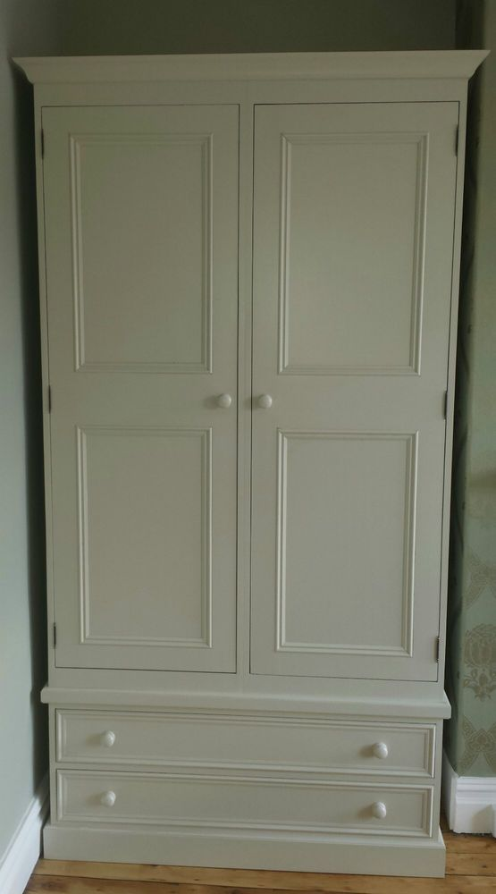 Farrow And Ball Painted Pine 2 Door Double Wardrobe With Drawers Made To Measure Furniture Wardrobe Drawers Kitchen Interior Design Modern