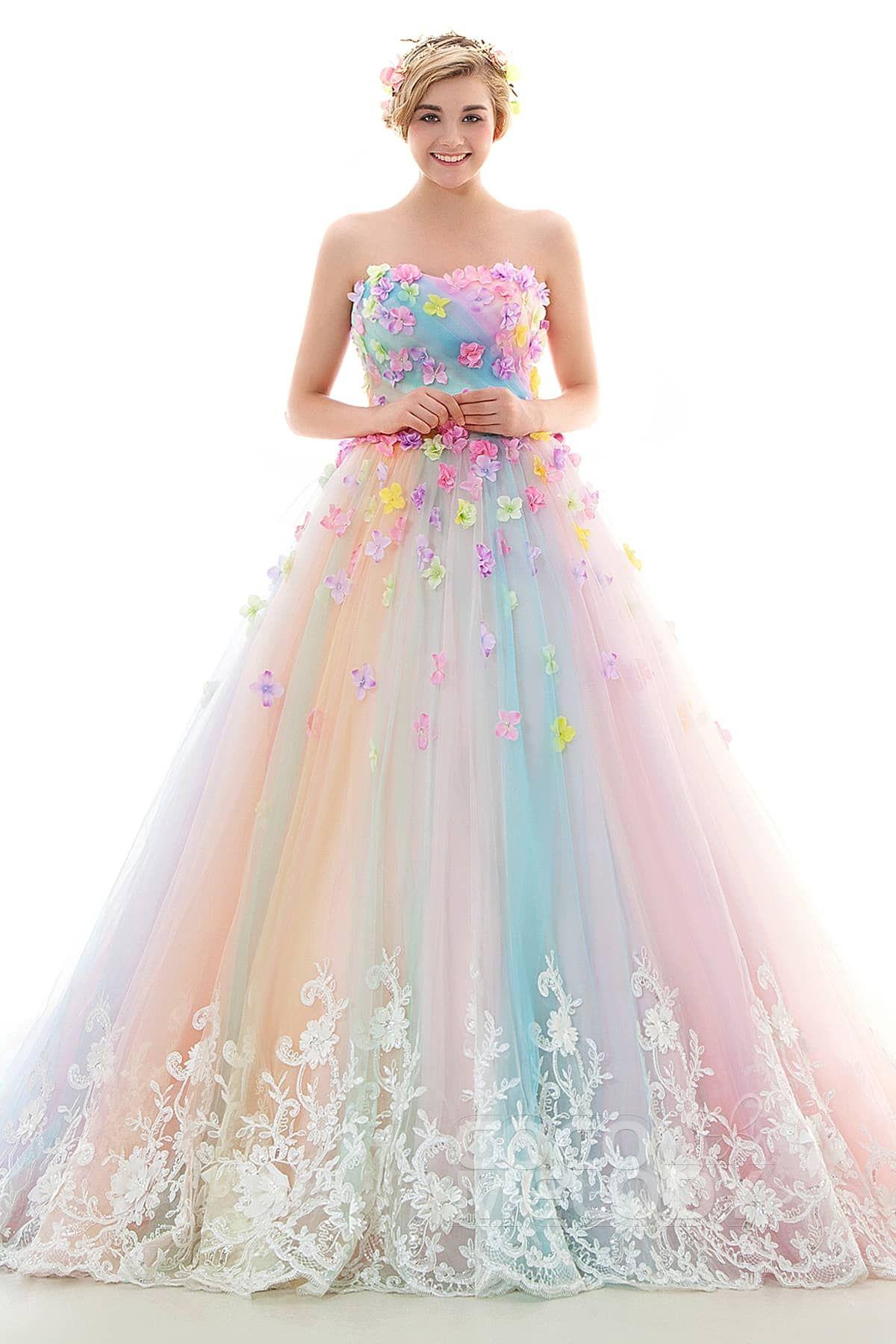 LD4156 造花ドレス リボン レインボー カラードレス | I LOVE MODERN ...