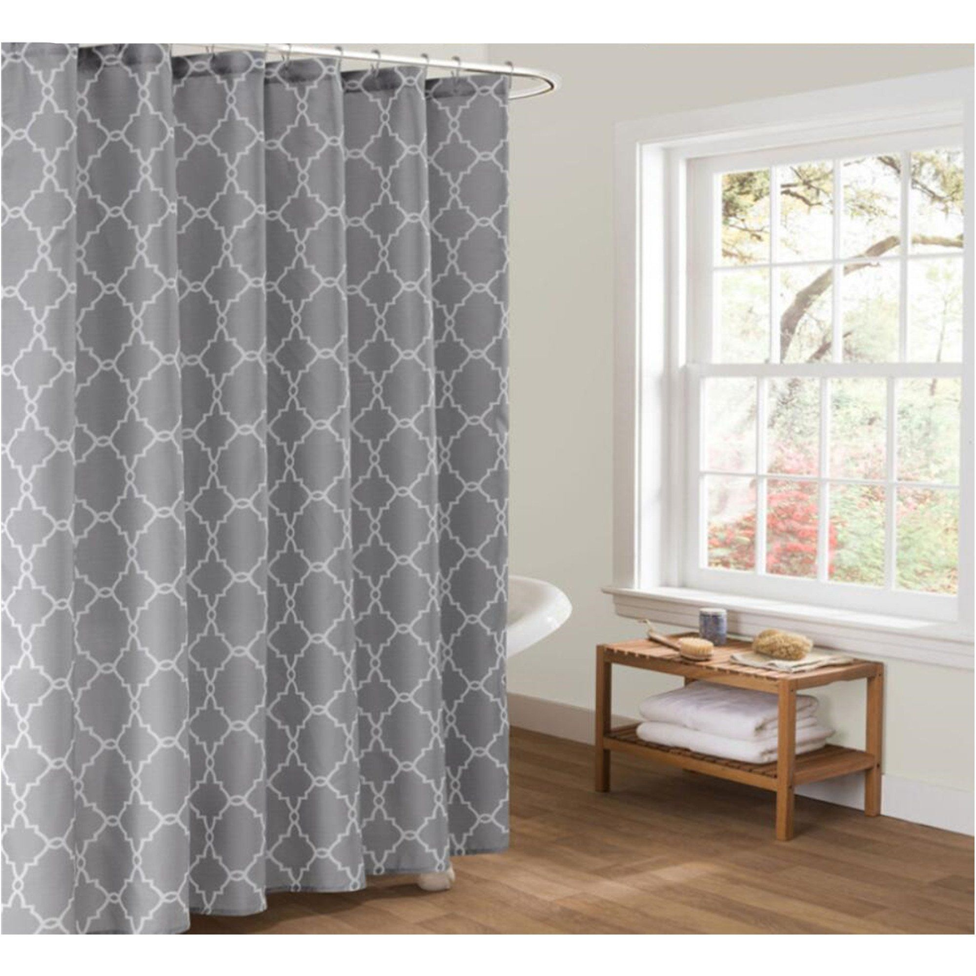 Cryseam Shower Curtains Gray Geometry Pattern For Bathroom