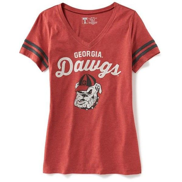 5a0afae30 Old Navy Womens College Team Graphic V Neck Tee (16 JOD) ❤ liked on  Polyvore featuring tops