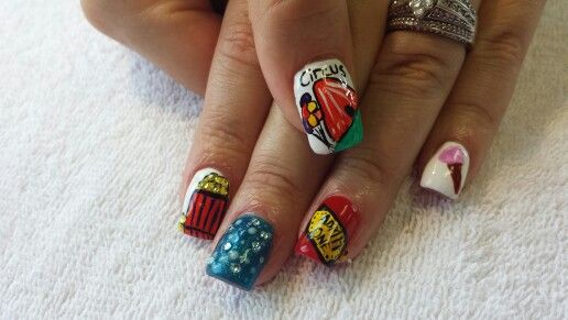 Circus Nails For A Birthday Party Nails Pinterest Circus Nails