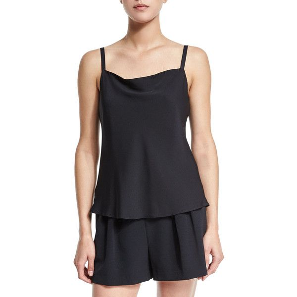 Milly Stretch Silk Bias Camisole (1.935 NOK) ❤ liked on Polyvore featuring intimates, camis, black, black camisole and black cami
