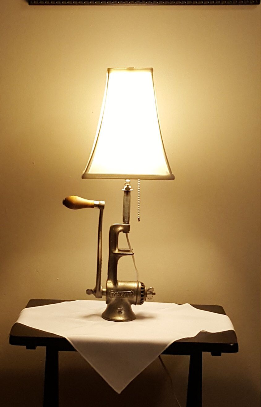 Antique Meat Grinder Lamp Unique Lighting Re Purposed Lighting Accent Lighting Upcycled Lighting Reclaimed Meat Grinder Lamp Lam Lamp Antique Lamps Lights