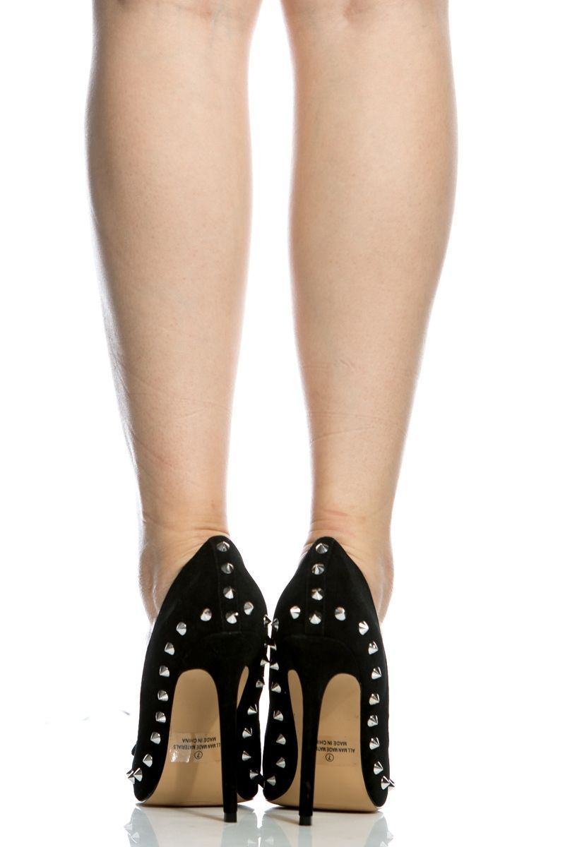 6acb3467c406 Black Faux Suede Spike Pointed Toe Pumps   Cicihot Heel Shoes online store  sales Stiletto