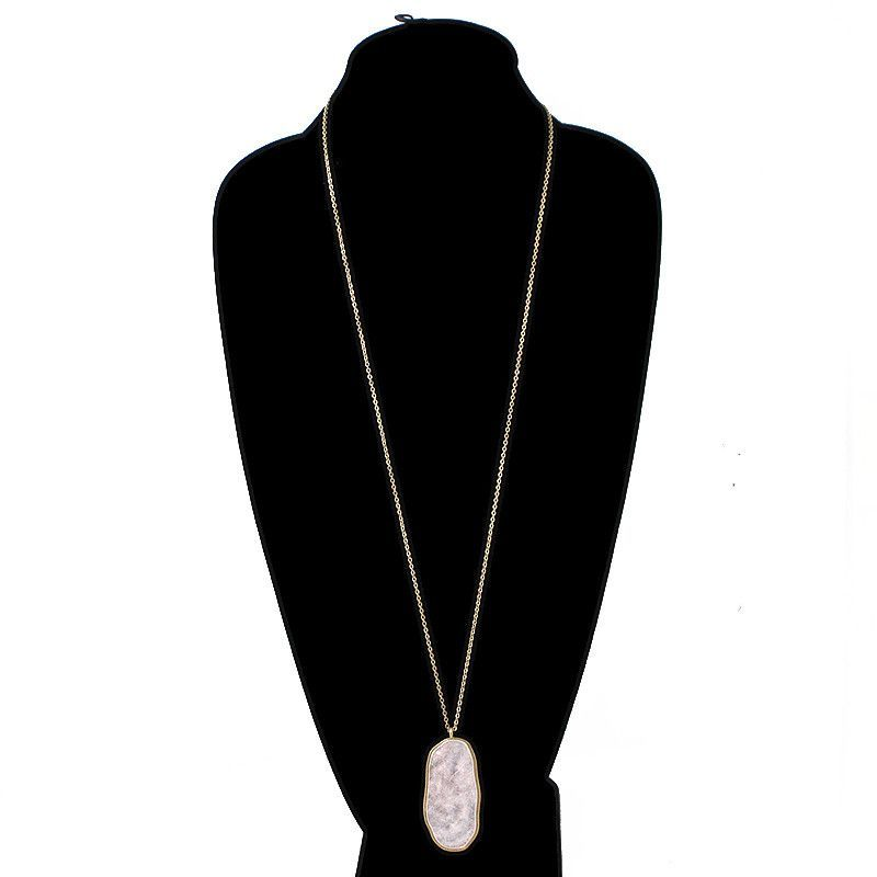 Natural Cut Hammered Pendant Long Necklace