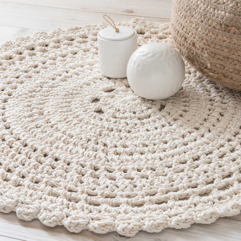 tapis rond en coton ecru d 90cm