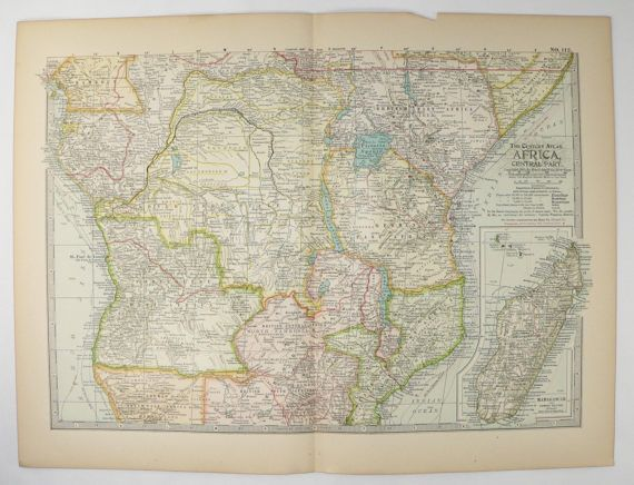 Vintage Map Africa Congo Map Kenya 1899 Central Africa Map