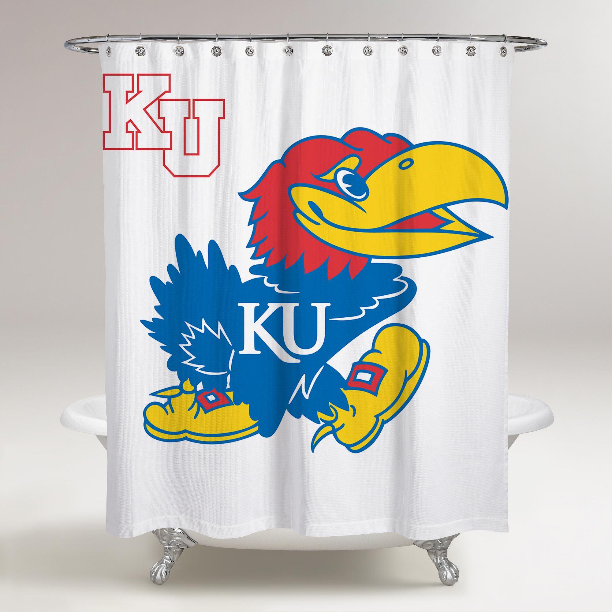 Kansas Jayhawks Logo Printed Shower Curtain Bathroom Decor Price