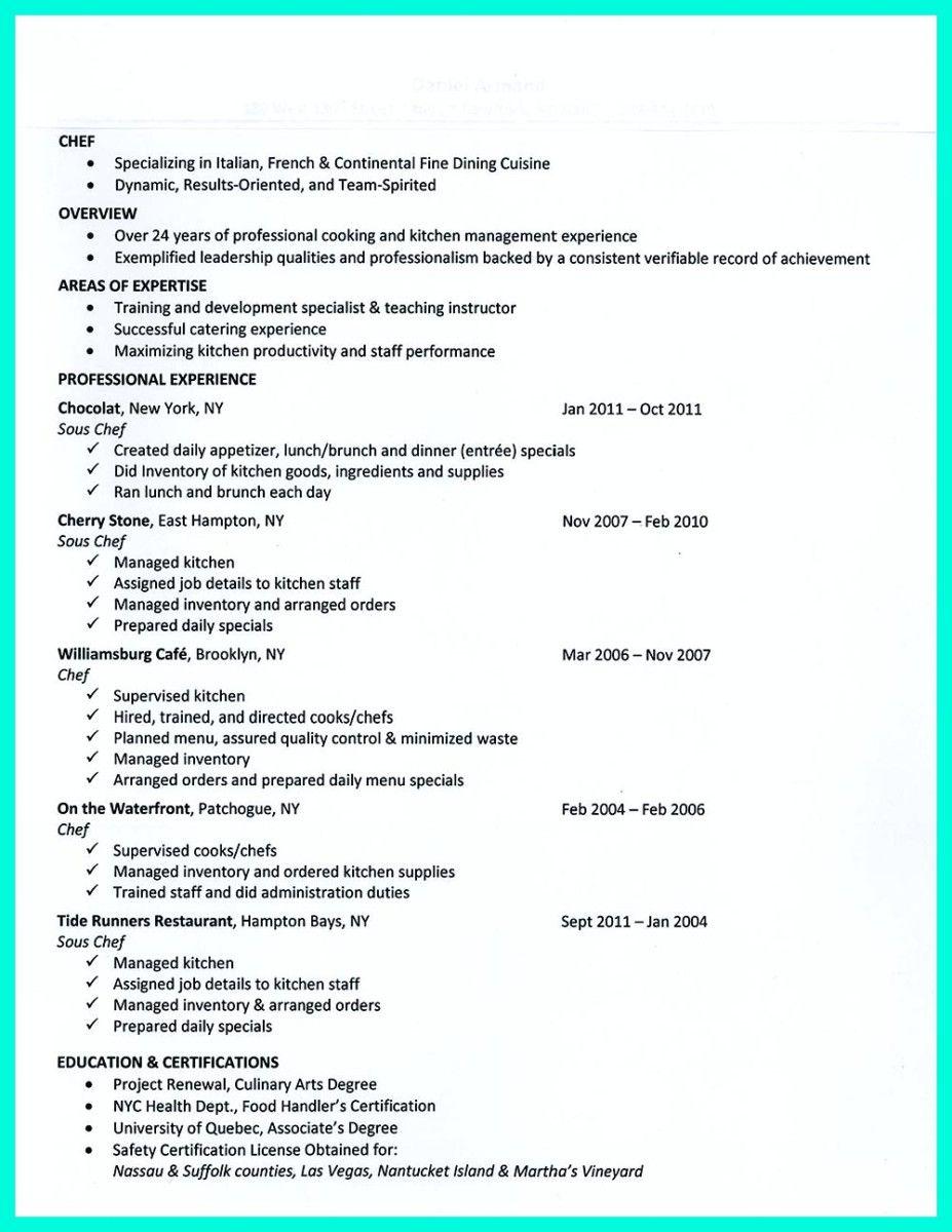 sample resume for pastry chef sous chef resume samples visualcv
