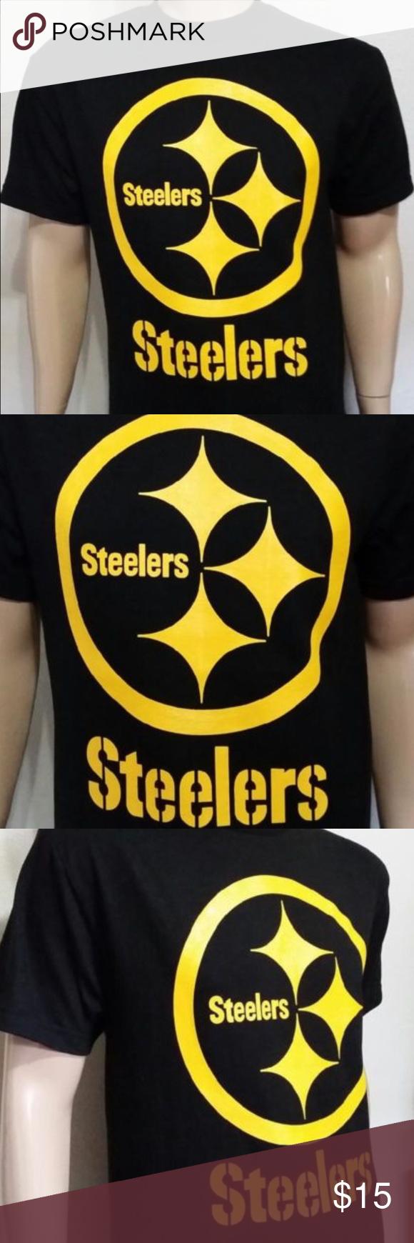 NWT Men s Pittsburgh Steelers Black T- Shirt 100% Cotton AAA Shirt   Silk  Screen 33354882b