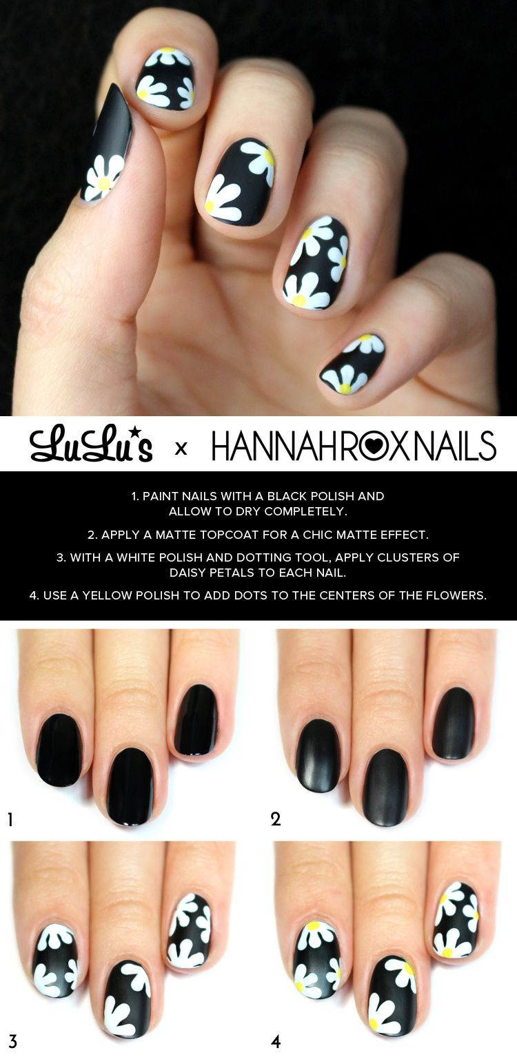Mani Monday Black Daisy Nail Tutorial With Images Daisy Nails