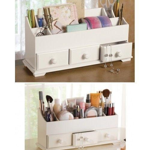 Desk Organizer Makeup Storage 3 Drawer Wood White Home Office File Bath New Makeup Storage Organization Dressing Room Decor Storage