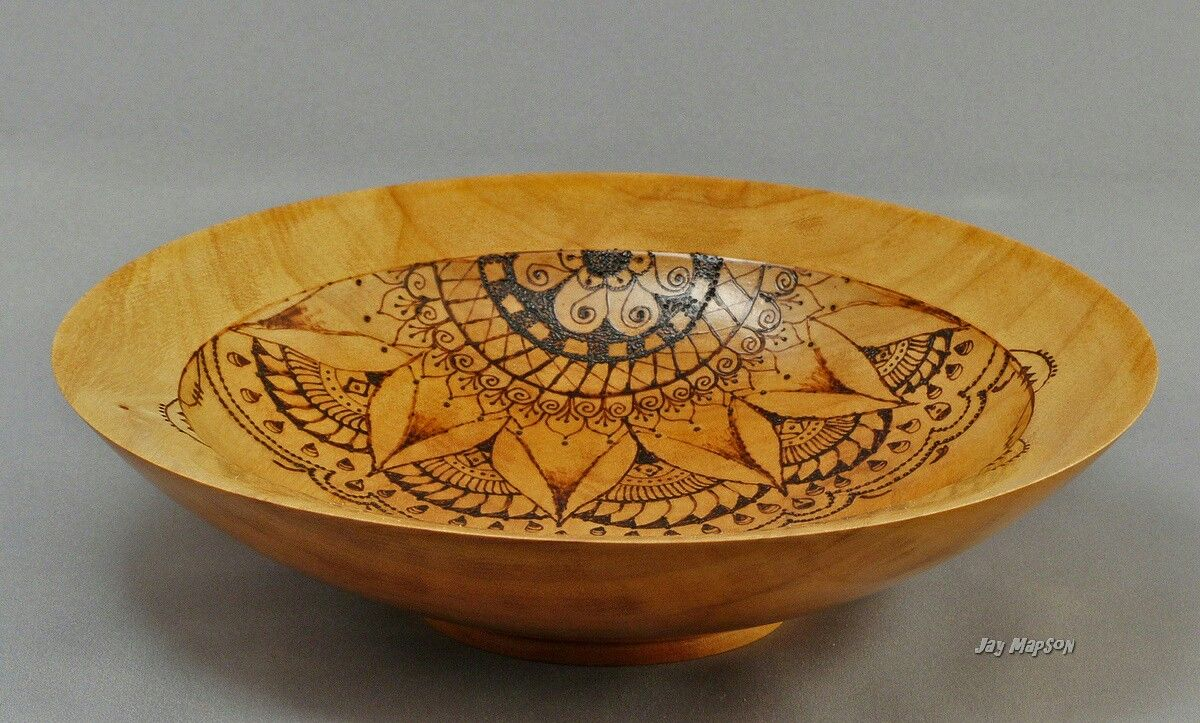 jay and lin mapson wood turned bowl with wood burned. Black Bedroom Furniture Sets. Home Design Ideas