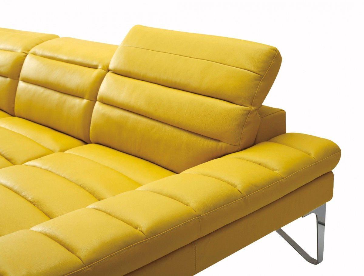 Divani casa 994b modern yellow leather sectional sofa classic 2 modern furniture store