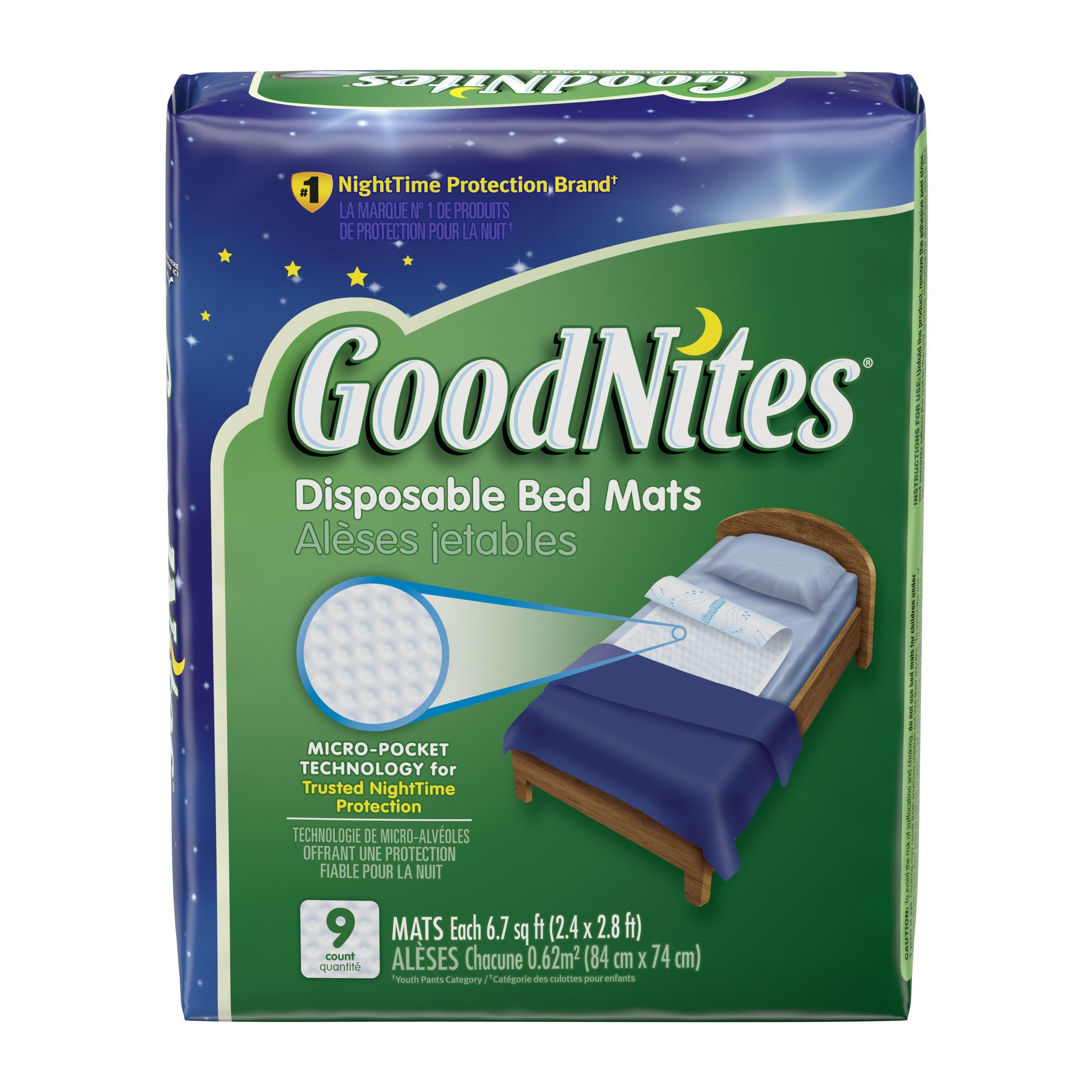 Free 2-day shipping. Buy Goodnites Disposable Bed Mats for Bedwetting, 2.4 x 2.8 ft, 9 Ct at Walmart.com