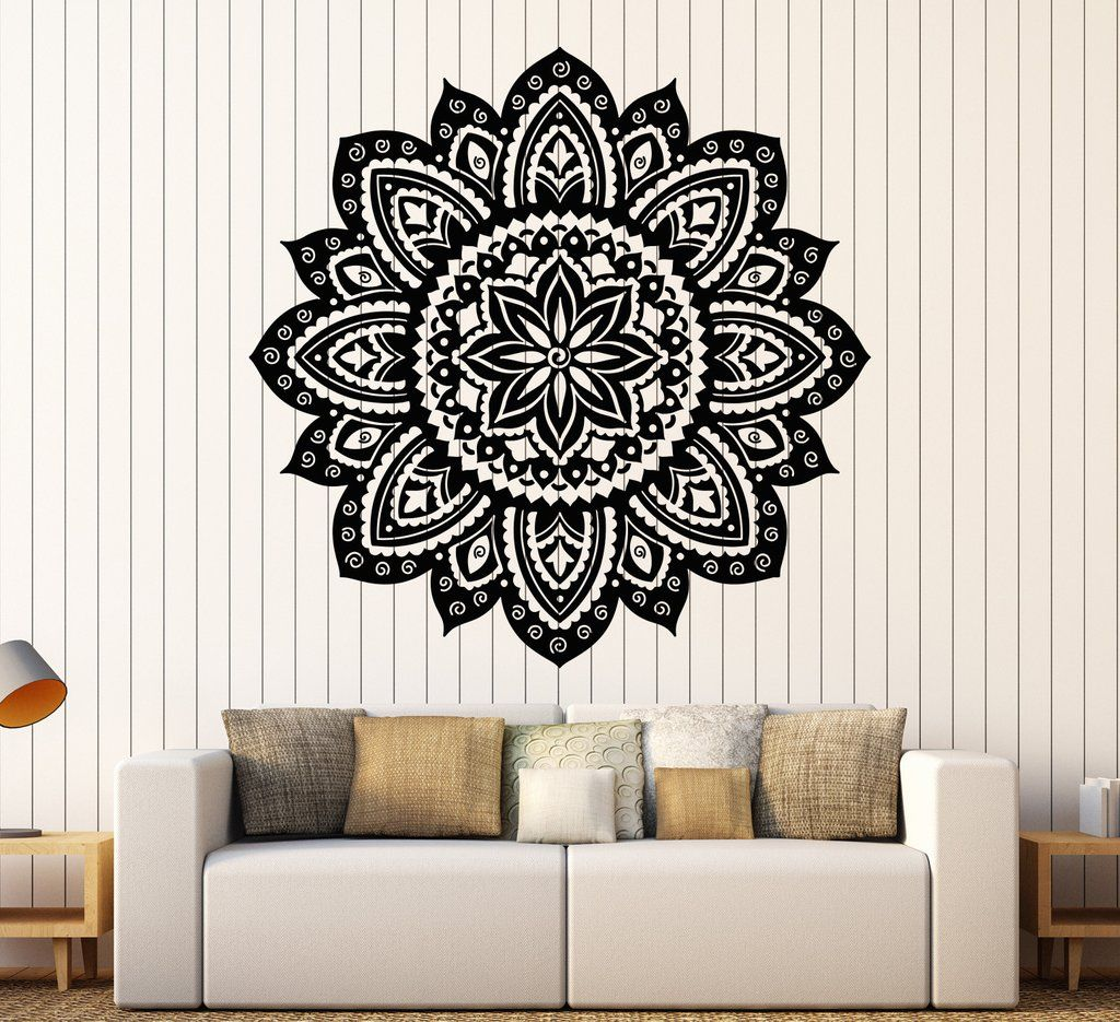 Bohe Mandala Flower Wall Paper Decor Yoga Studio Vinyl: Vinyl Wall Decal Yoga Studio Mandala Lotus Flower Home