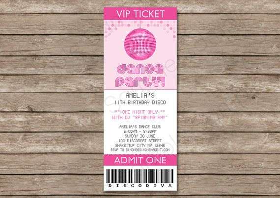 Dance Party Ticket Invitation INSTANT DOWNLOAD by SIMONEmadeit - party ticket invitations