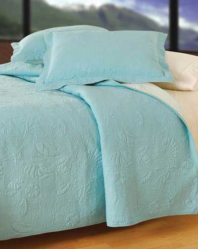 Solid Blue Shell Bedding Also Available In Solid White Seashell
