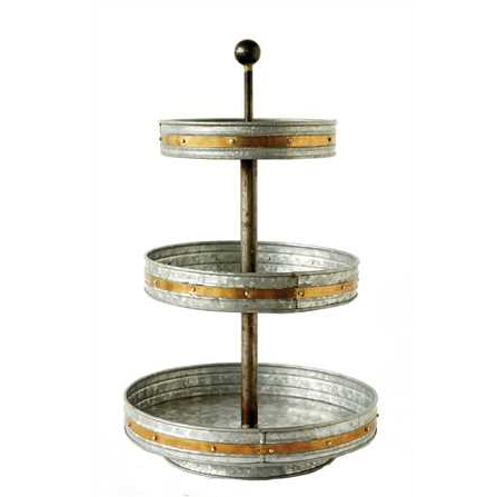 The Duke Tiered Stand Galvanized Tray 3 Tier Stand