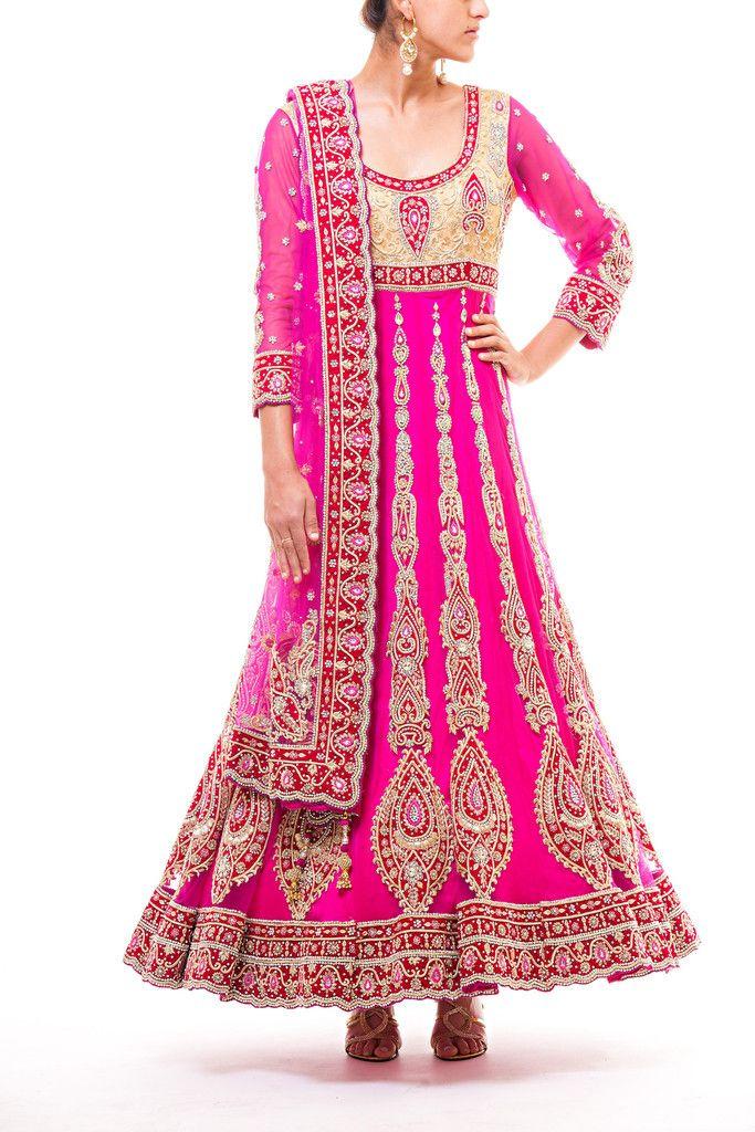 Gold Yoke - Hot Pink Kalis 16 kali Bridal Anarkali with zardozi and ...