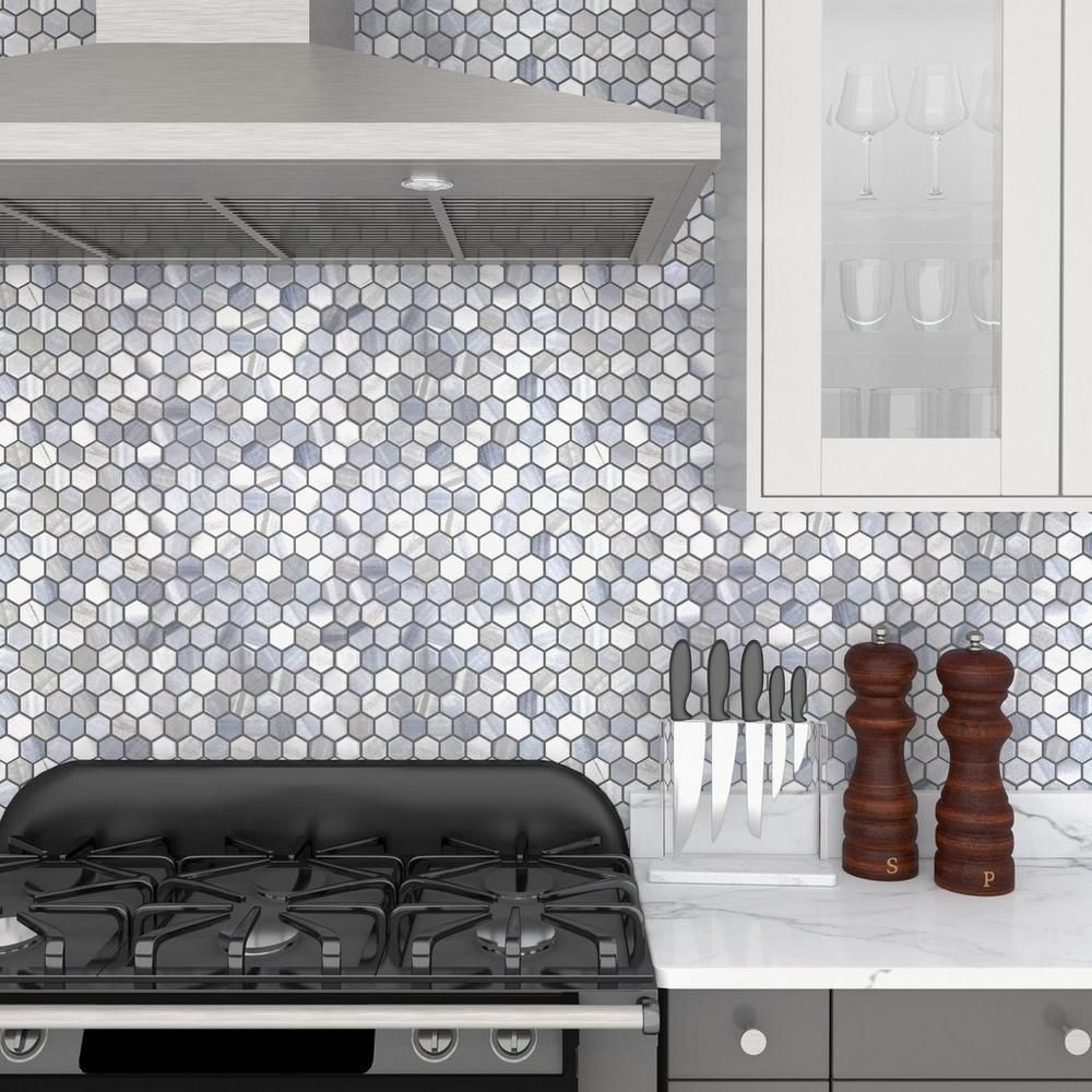 Beaumont Shadow 1 5 In Hexagon Ceramic Mosaic In 2020 Grey Polished Porcelain Tiles Floor Decor Grey Flooring