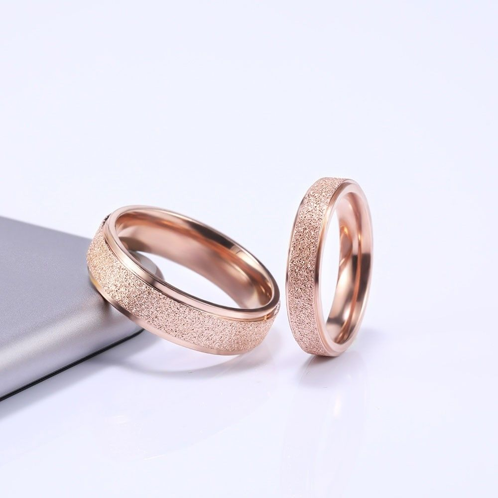 Matte Rose Gold Couple Rings in Titanium Steel (With