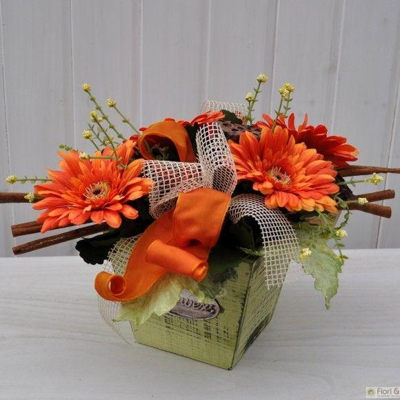 Composizione fiori artificiali Gaia arancio | Fiori & Fiori