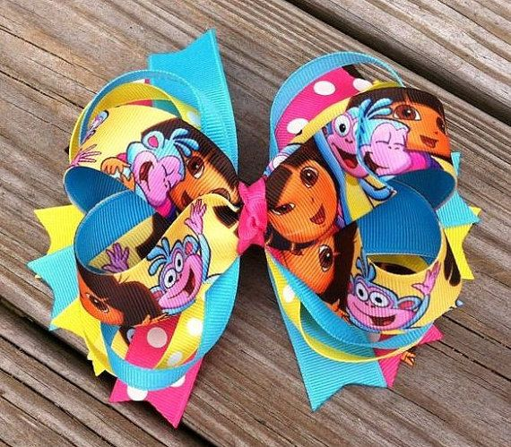 Dora and Boots Layered Hair Bow by MiaBellaCrafting on Etsy