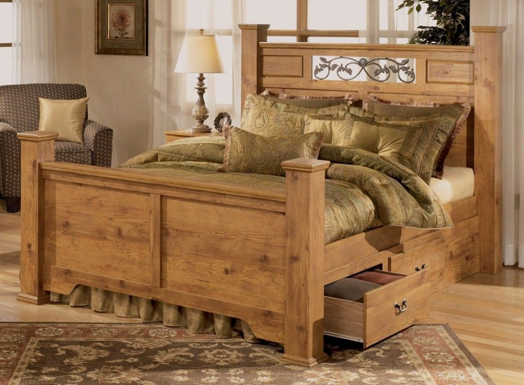 Rustic Pine Bedroom Furniture Brown Plank Wood Frame Bed Tree As Deco Boho Chic