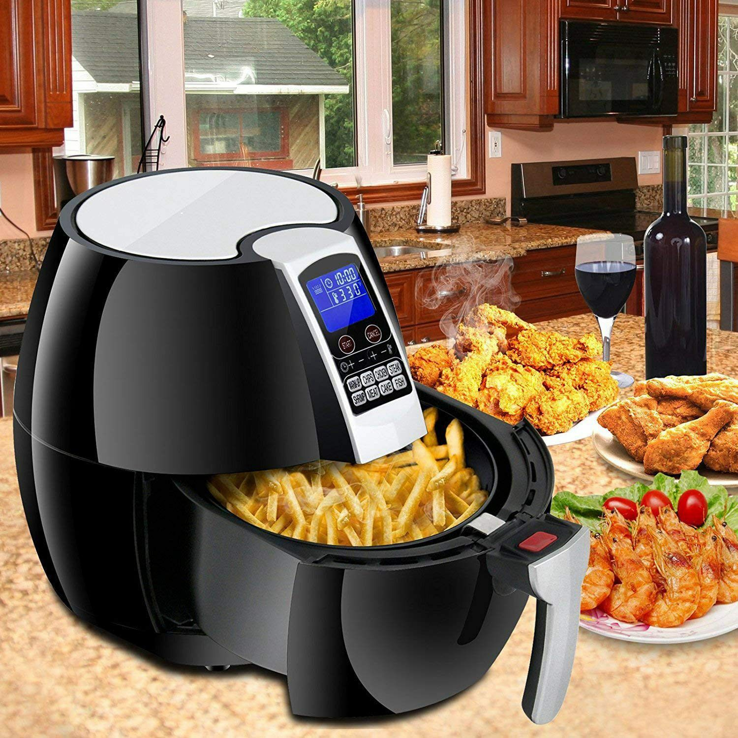 1500W LCD Electric Air Fryer W/ 8 Cooking Presets