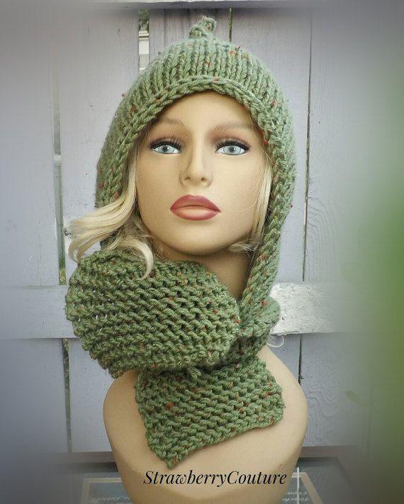 Hooded Knitted Scarf Pattern, Knitting Pattern, Knit Scarf Pattern ...