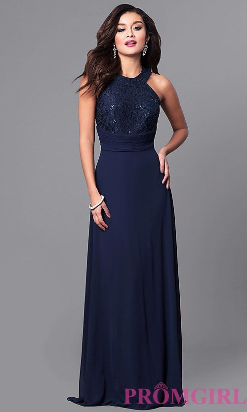 7d3d084620 Image of navy high-neck long prom dress with lace bodice. Style  MCR-2038  Front Image