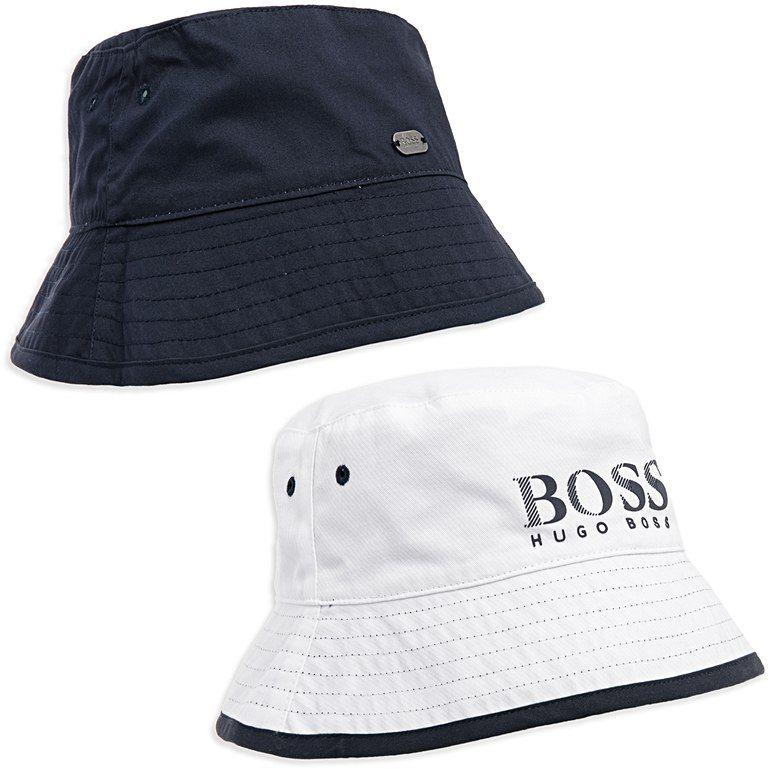 BOSS KIDS Boys Reversible Bucket Hat - Navy White Boys bucket hat • Soft  cotton 3e79b5f5734