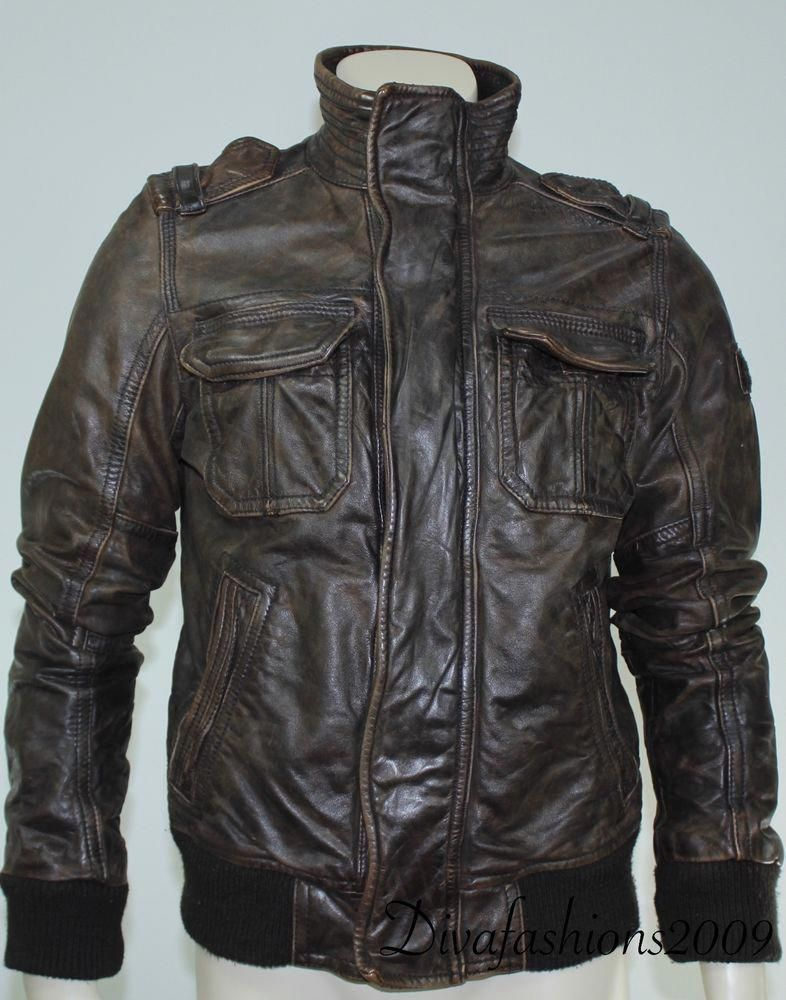 7970163177d Abercrombie   Fitch Brown Leather Rollins Bomber Men s Jacket Coat Zip up  Size M  AbercrombieFitch  leatherjacket  leatherjacketsformenbrown