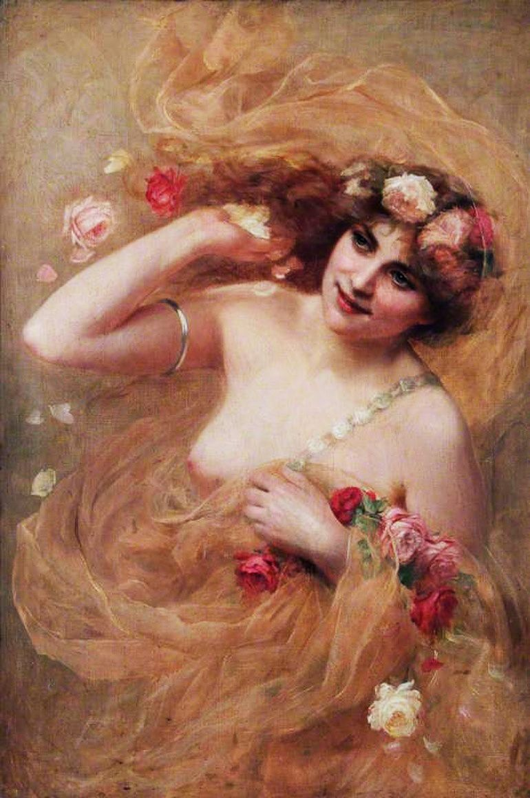 Beatrice Offor (English, 1864-1920). Nude With Roses