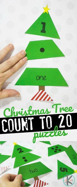 Free Christmas Tree Count to 20 Puzzles – this are such a fun Kindergarten Chris…