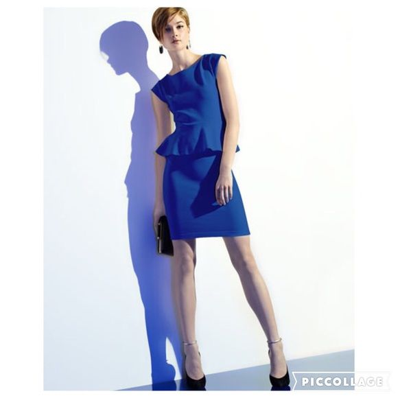 Alice + Olivia Victoria Royal Blue Peplum Dress A pleated peplum waist adds a dainty detail to the dress. Ponte. Round neckline. Cap sleeves. Flared, pleated peplum. Pencil skirt. Back zip. Rayon/ Nylon/ Spandex. Gently worn . Mint pre-owned condition. Alice + Olivia Dresses Midi