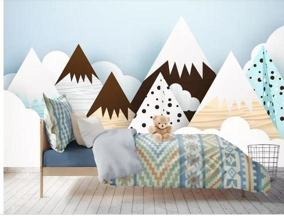Hand bemalt Schnee geometrischen Berge Kinderzimmer Tapete
