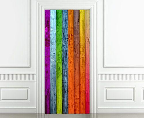 Porte en bois décoration stickers couleur bois par homeartstickers