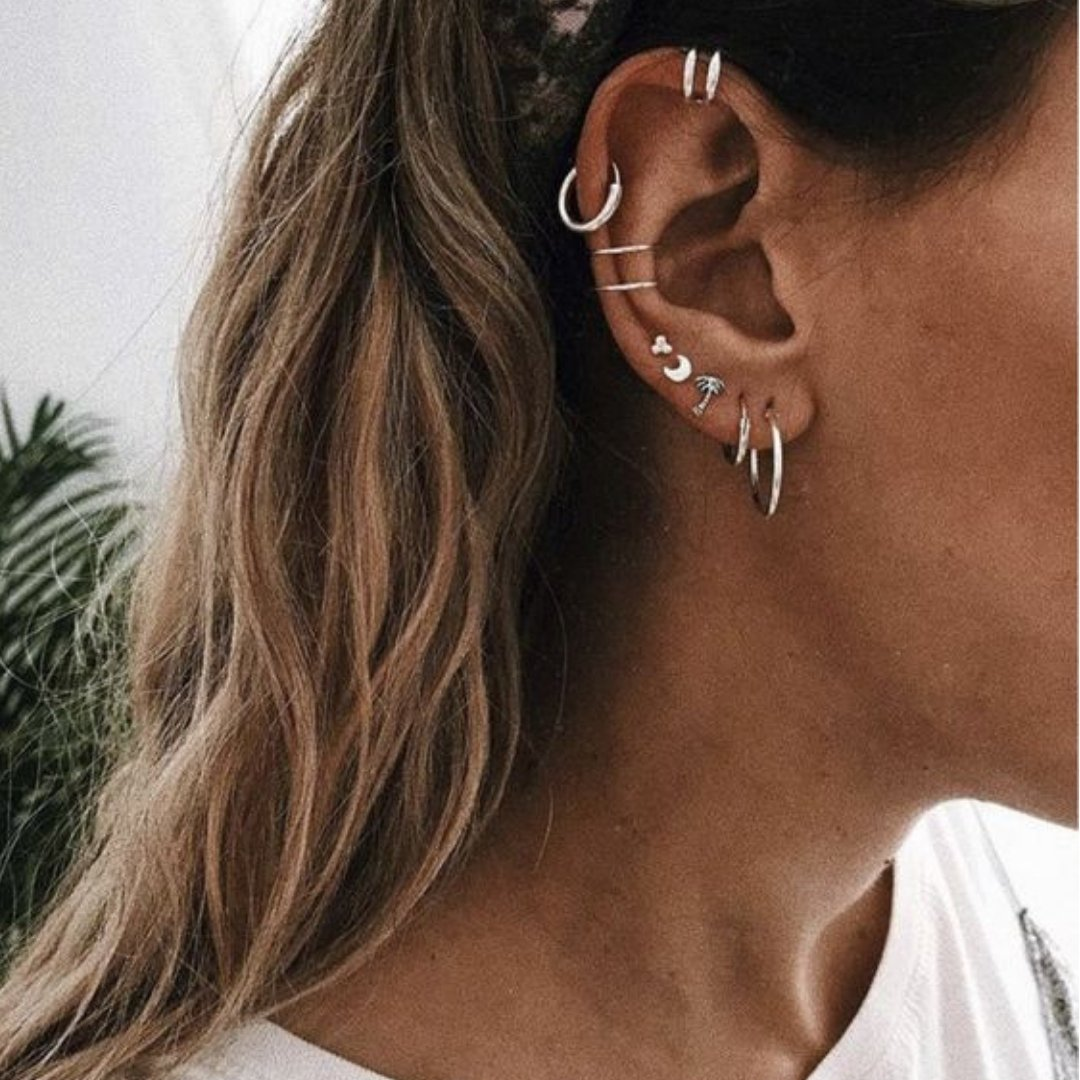 Silver Layers Ear Cuffs #earpeircings