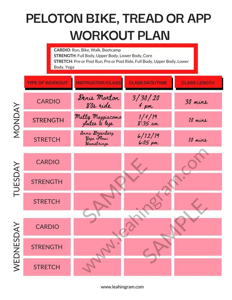 Home cycle workout planner tracker pdf printable schedule