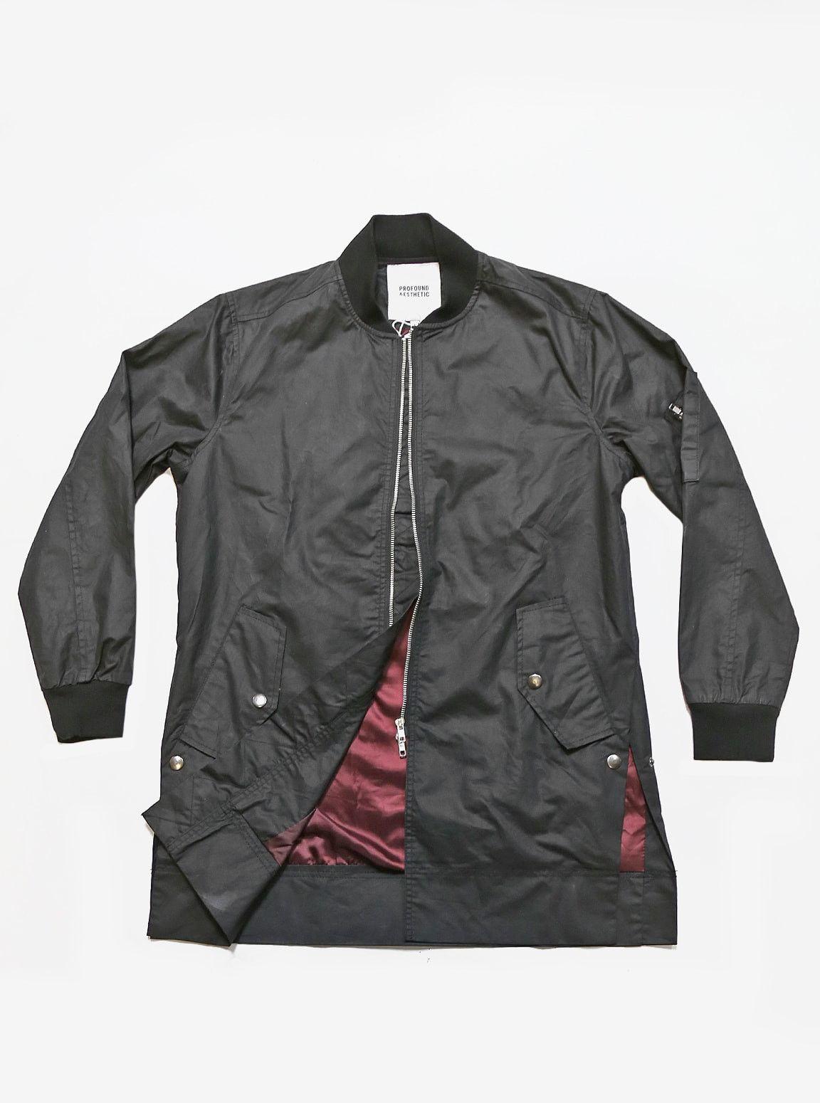 Leather jacket aesthetic - Profound Aesthetic Waxed Cotton Long Bomber Jacket In Black Profoundco Com