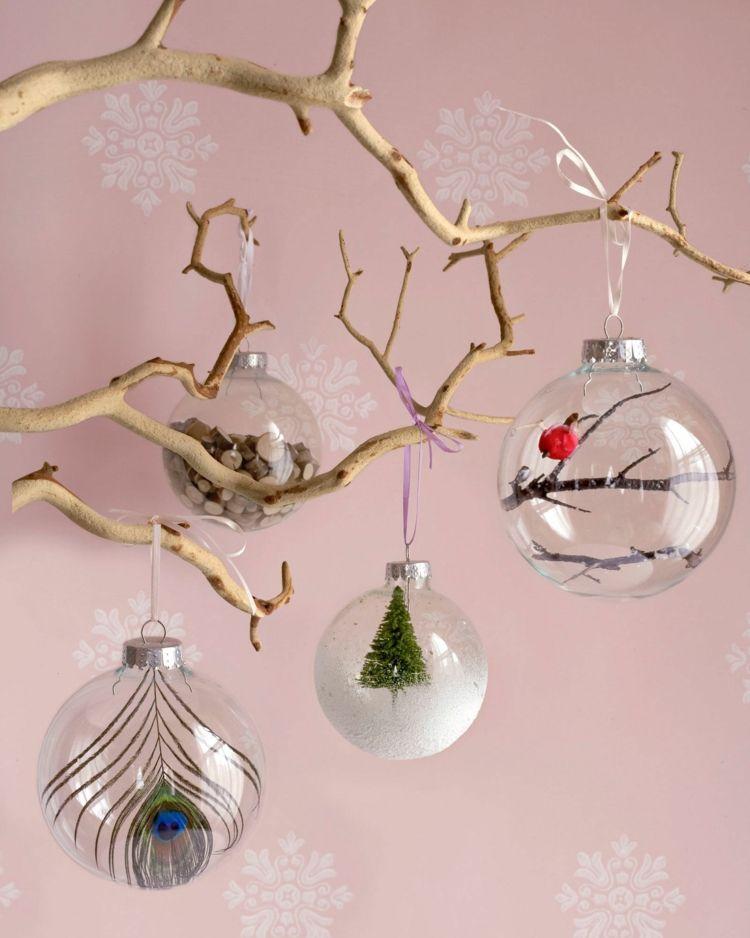 Transparente Christbaumkugeln.Weihnachtsdeko Basteln Christbaumkugeln Transparent Füllung Feder