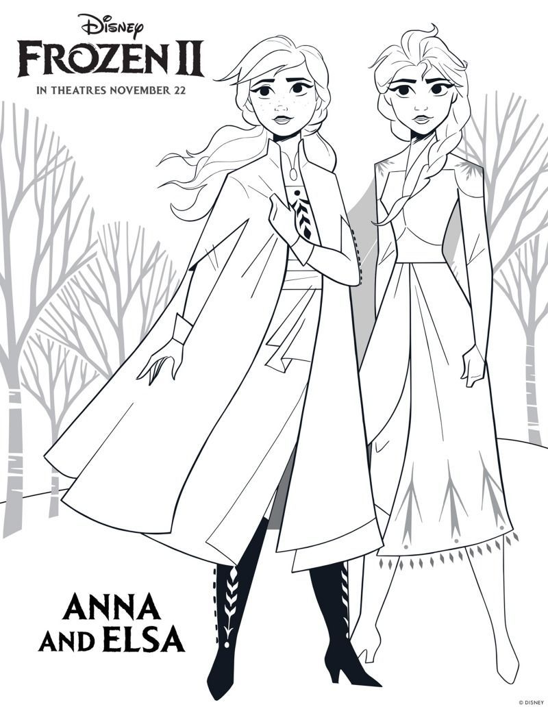 Disney Frozen 2 Free Printable Anna And Elsa Coloring Page Freeprintable Frozen F Disney Princess Coloring Pages Princess Coloring Pages Elsa Coloring Pages