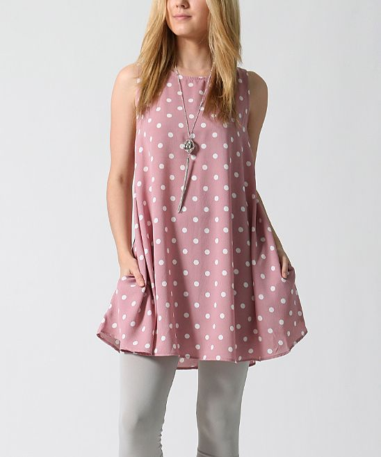 Mauve Polka Dot Swing Tunic