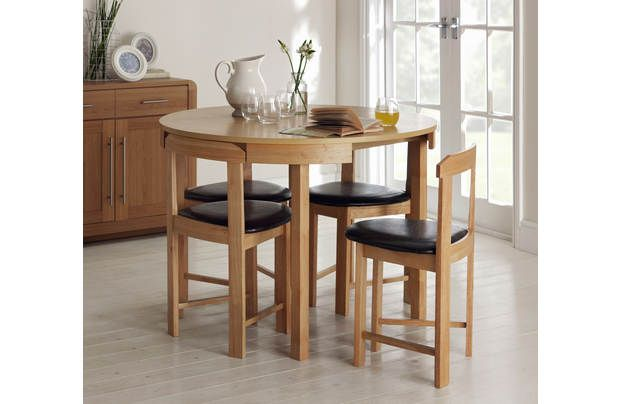 Hygena Alena Solid Oak Circular Dining Table 4 Chairs Circular Dining Table Small Dining Table Small Kitchen Tables