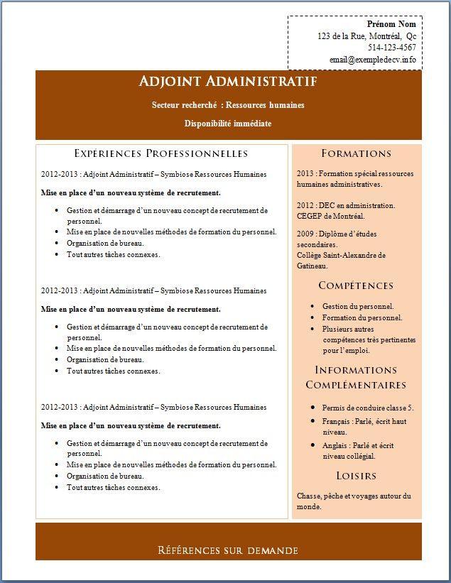 exemple cv gratuit agent administratif  u00e0 imprimer