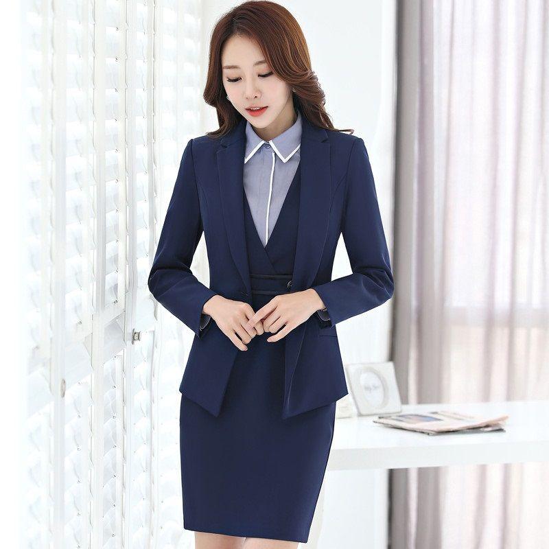 Cheap Formal uniforme diseño profesional negocios Trajes con 3 unidades  blazer + vestido + blusa para 66eb537ebefd
