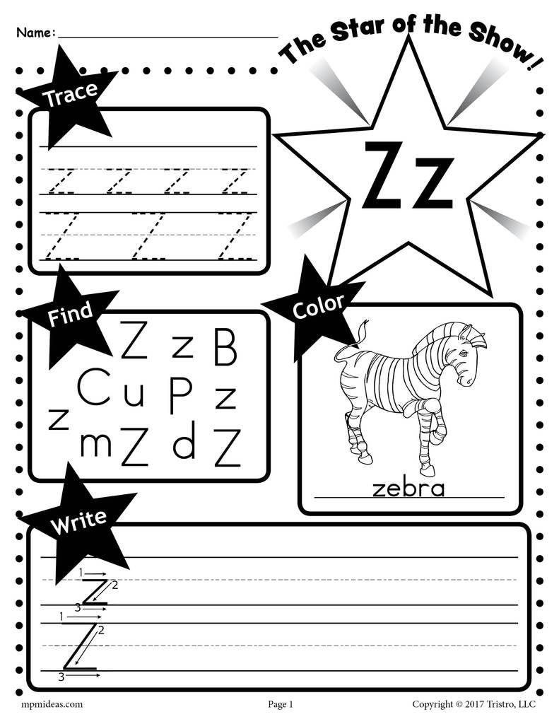 Letter Z Worksheet Tracing Coloring Writing More Tracing Worksheets Preschool Letter Tracing Worksheets Letter P Worksheets