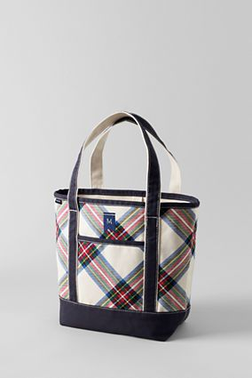 46949f9d1 Print Medium Open Top Tote from Lands' End: Steward Plaid Monogram with my  initials: Cobalt ANC Diamond initials